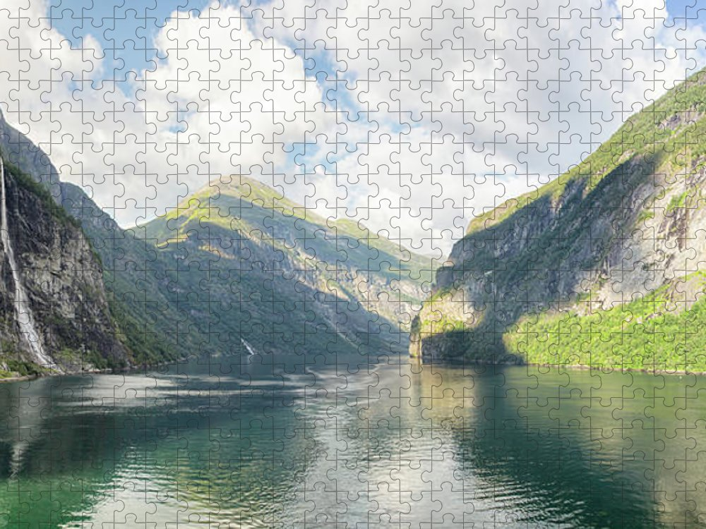 Panoramic Puzzle featuring the photograph Geirangerfjorde, Norway by Grandriver
