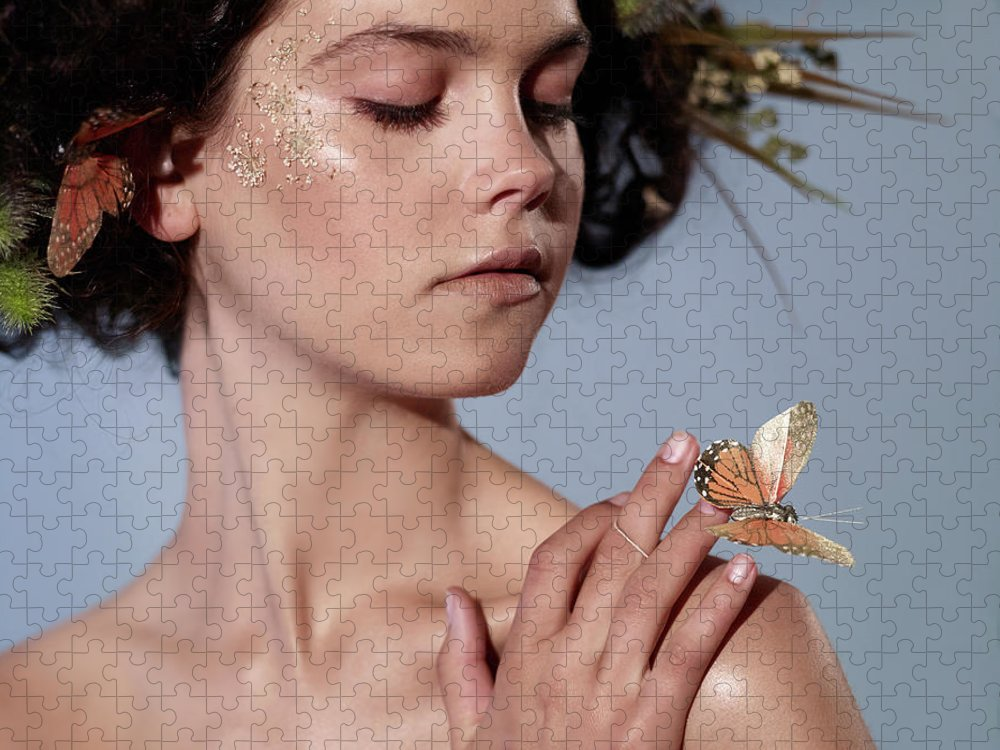 Tranquility Puzzle featuring the photograph Girl With Butterfly In Hand by Bill Diodato