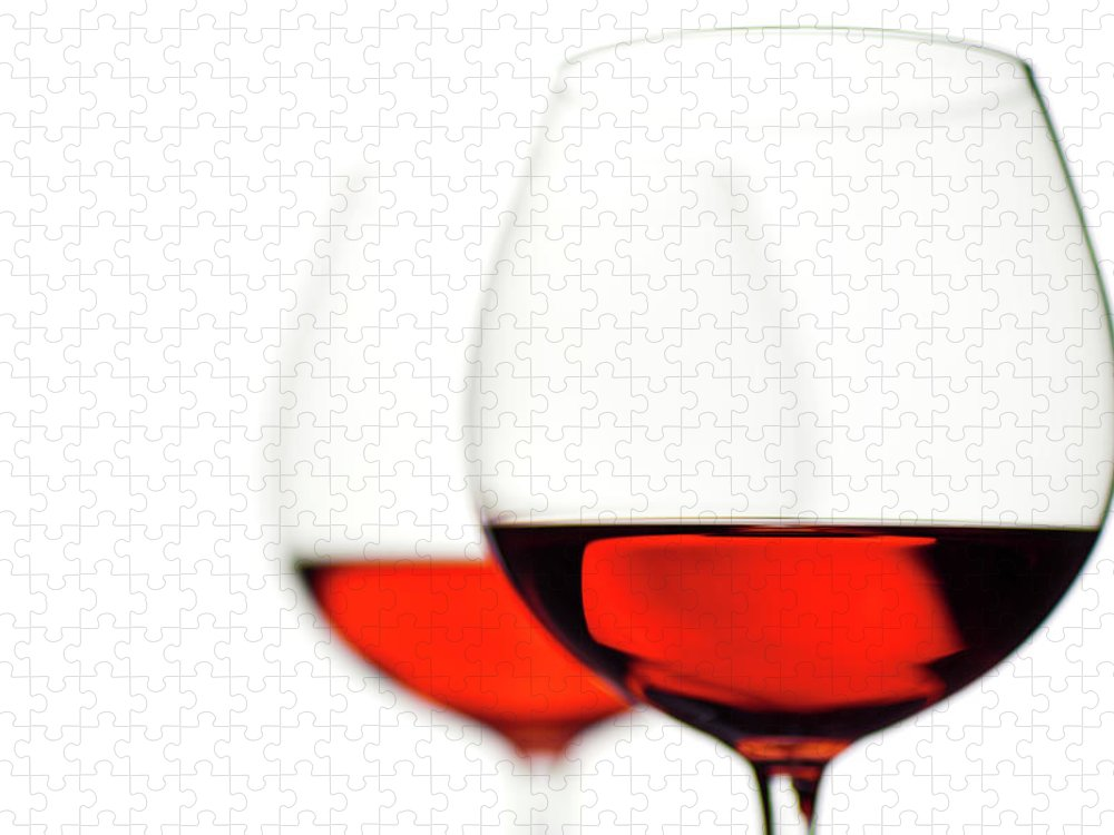 White Background Puzzle featuring the photograph Glasses Of Wine by Ineskoleva