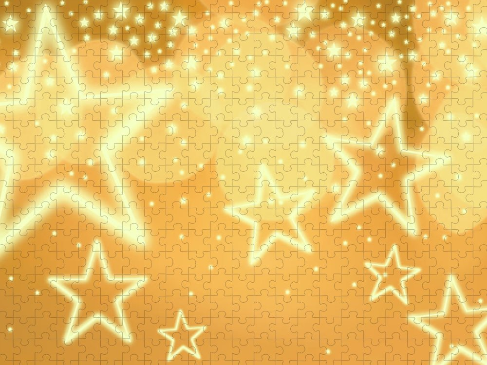 Christmas Lights Puzzle featuring the photograph Glowing Background With Stars, Studio by Tetra Images