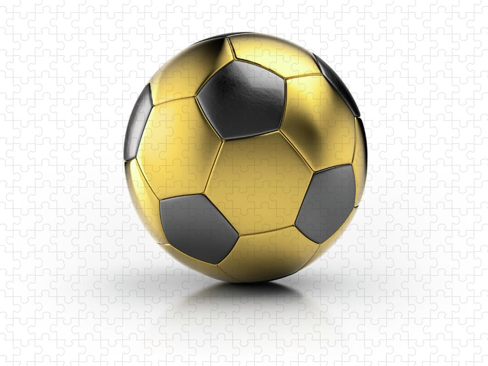 White Background Puzzle featuring the photograph Gold Football by Atomic Imagery