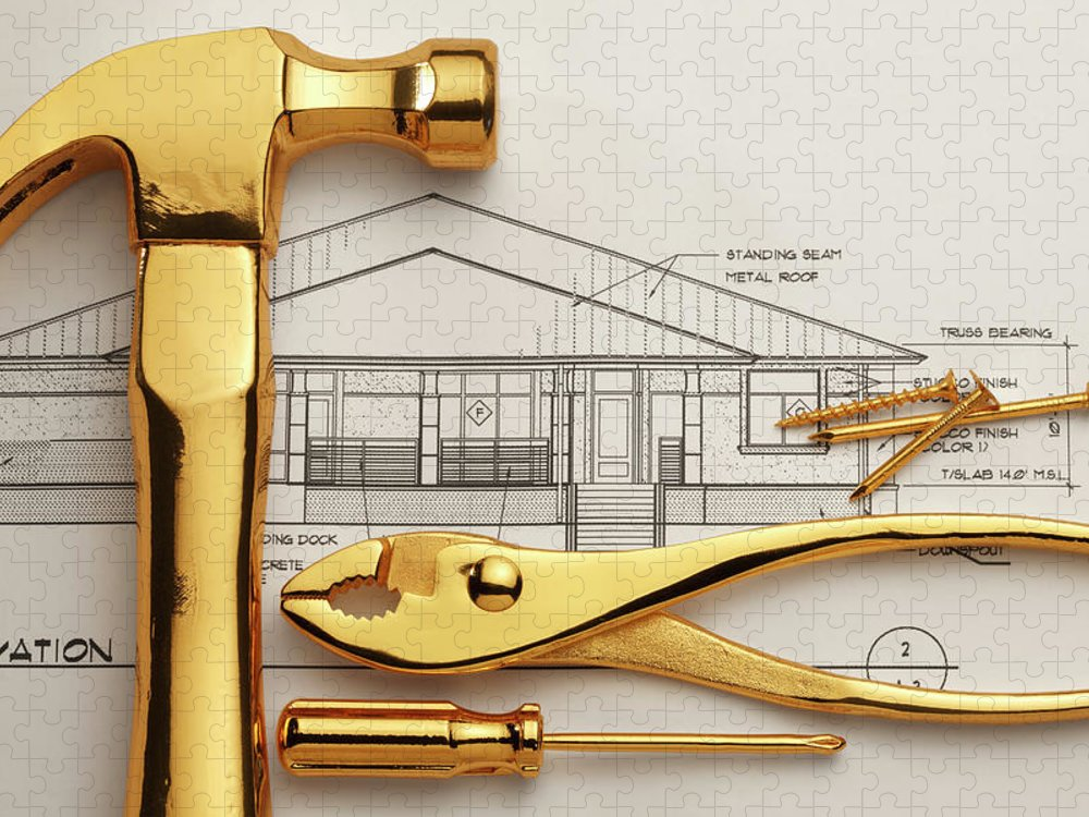 Plan Puzzle featuring the photograph Gold Plated Tools And Blueprints by Dny59