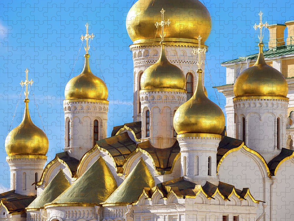 Annunciation Puzzle featuring the photograph Golden Domes Of The Russian Church by Mordolff