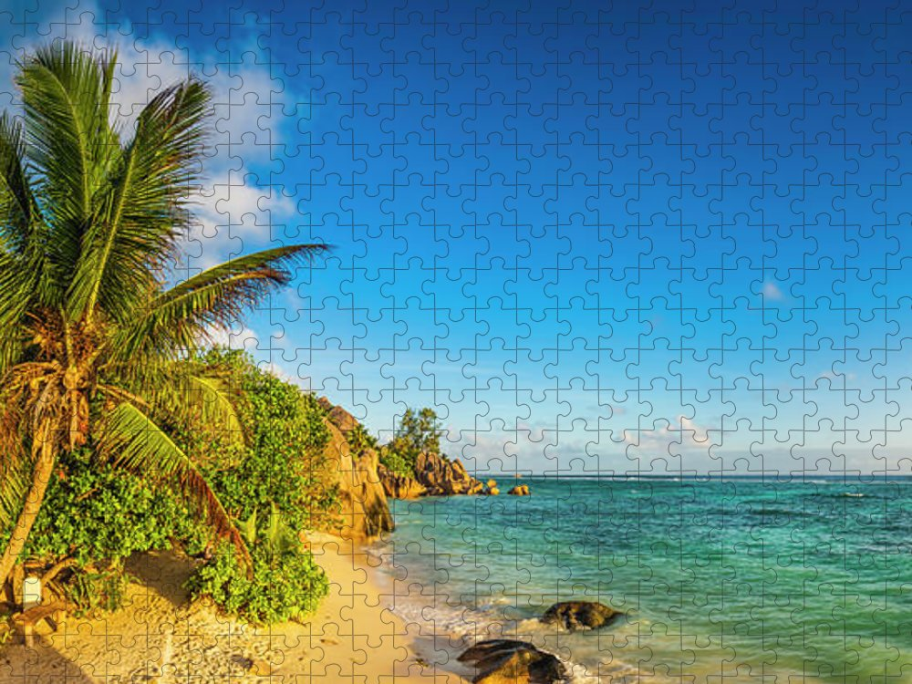 Tropical Rainforest Puzzle featuring the photograph Golden Sand Beach Swaying Palm Trees by Fotovoyager