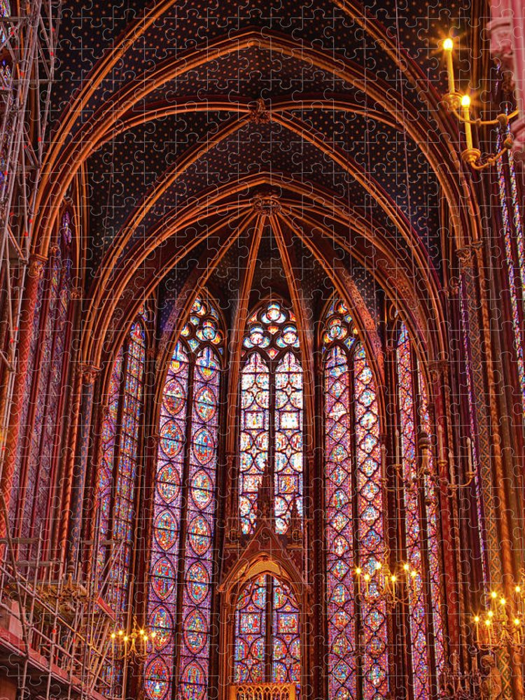 Gothic Style Puzzle featuring the photograph Gothic Architecture Inside Sainte by Julian Elliott Photography