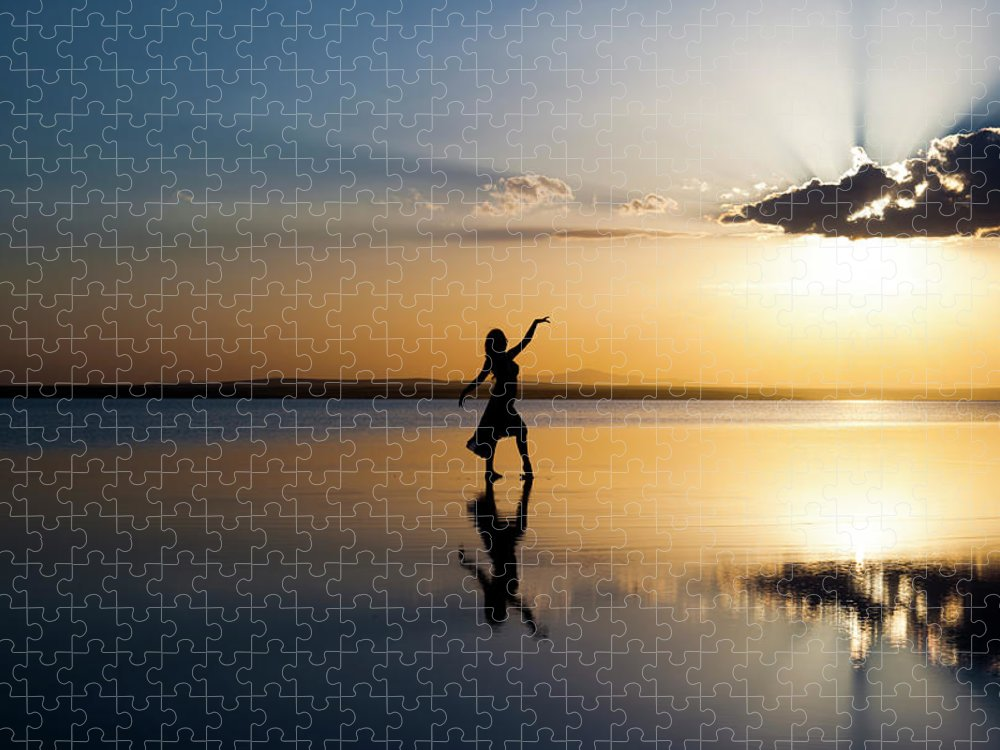 Ballet Dancer Puzzle featuring the photograph Grace At Sunset by Guvendemir