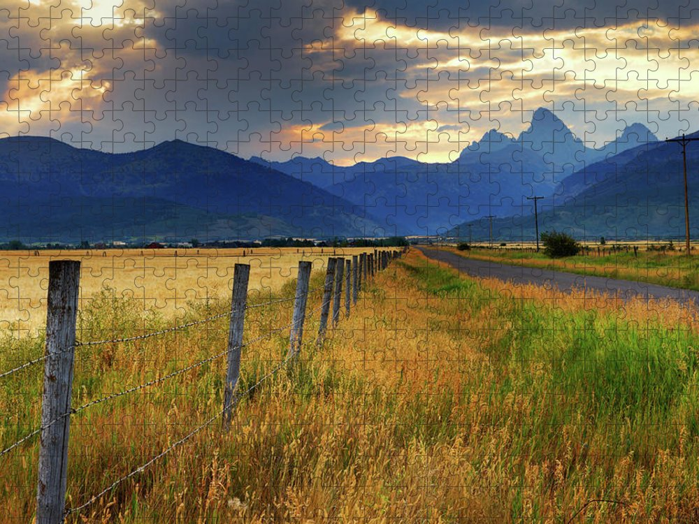 Tranquility Puzzle featuring the photograph Grand Tetons At Sunrise From Driggs by Anna Gorin