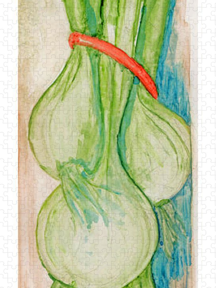 Still Life Puzzle featuring the painting Green Onions by Elle Smith Fagan