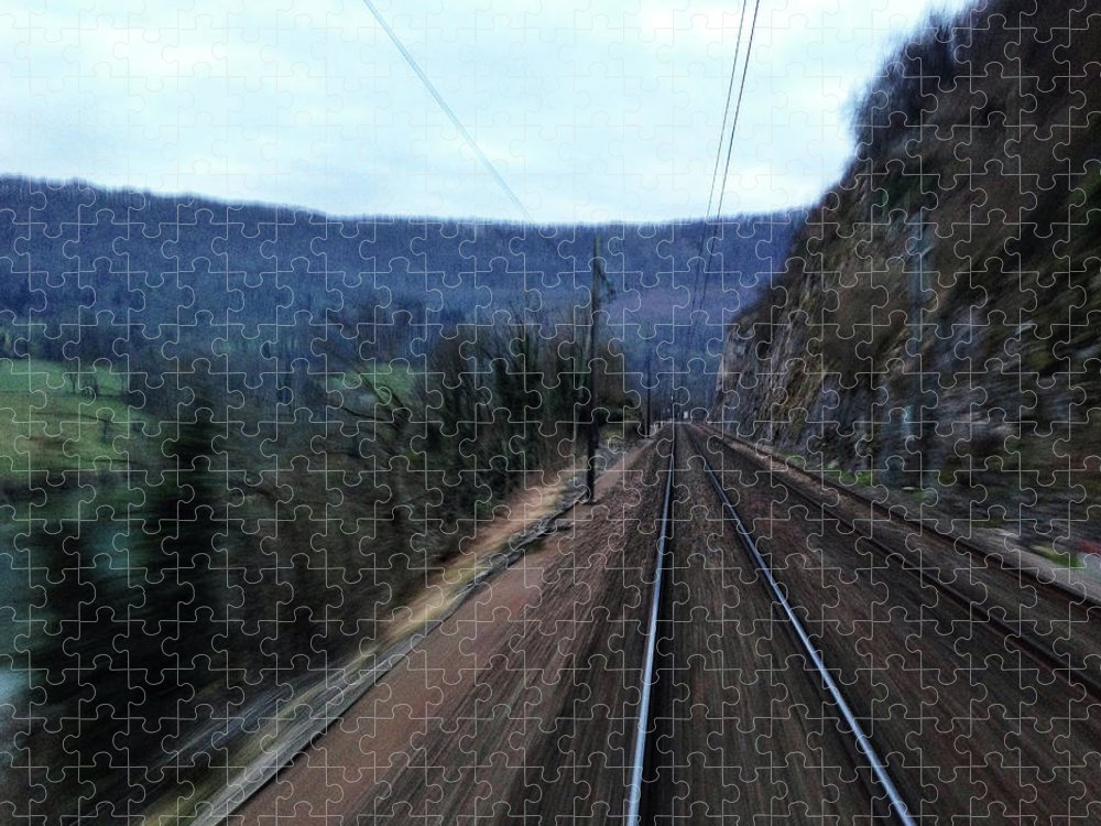 Railroad Track Puzzle featuring the photograph Green Travel by Lazypixel / Brunner Sébastien
