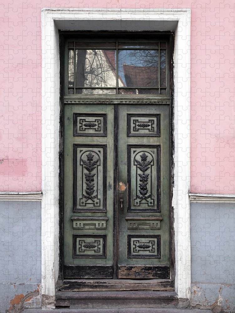 Rectangle Puzzle featuring the photograph Green Wooden Door In Old Building by Eugenesergeev