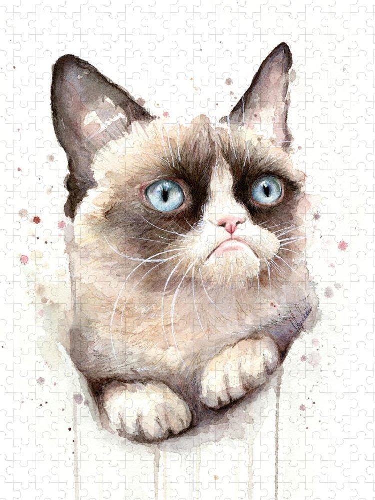 Grumpy Puzzle featuring the painting Grumpy Cat Watercolor by Olga Shvartsur