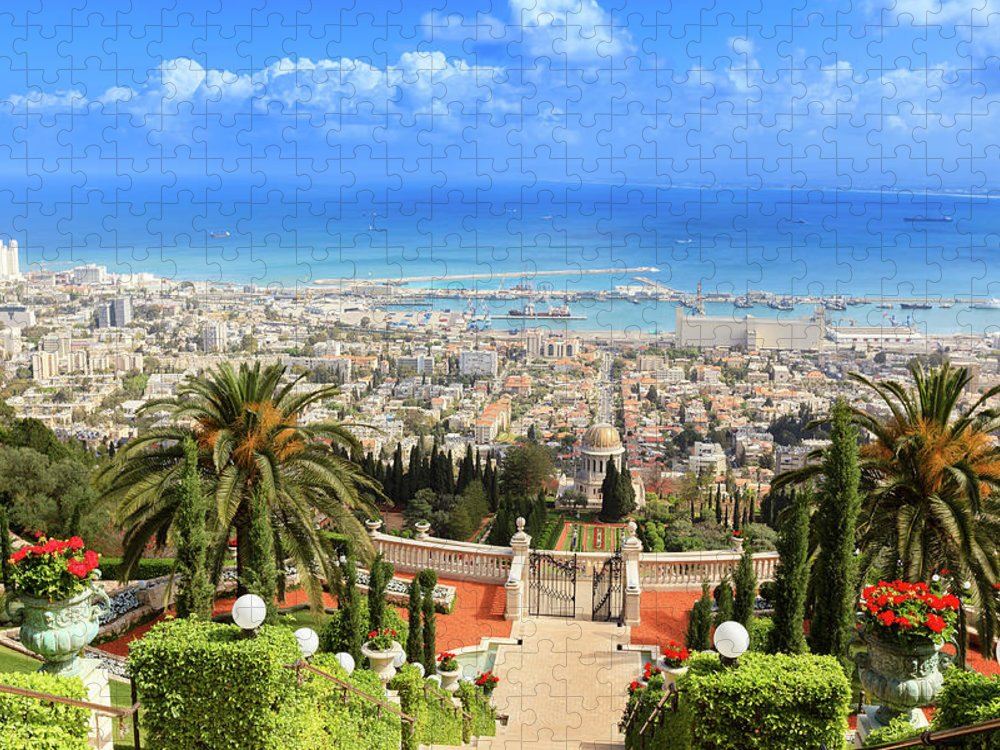 Terraces Of The Shrine Of The Báb Puzzle featuring the photograph Haifa, Israel by Fredfroese
