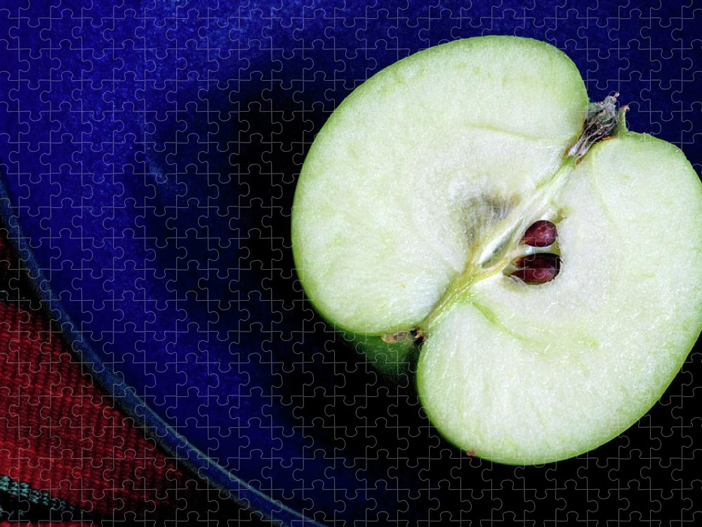 Healthy Eating Puzzle featuring the photograph Half Of A Green Apple In A Blue Bowl by Rebecca E Marvil