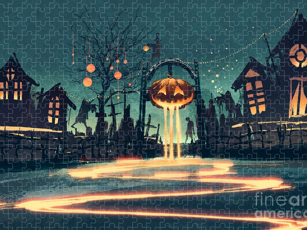Color Puzzle featuring the digital art Halloween Night With Pumpkin by Tithi Luadthong
