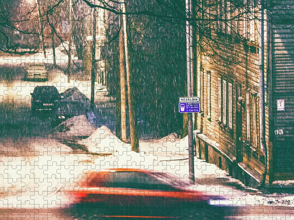 Curve Puzzle featuring the photograph Heavy Snowfall In Town by Peeterv