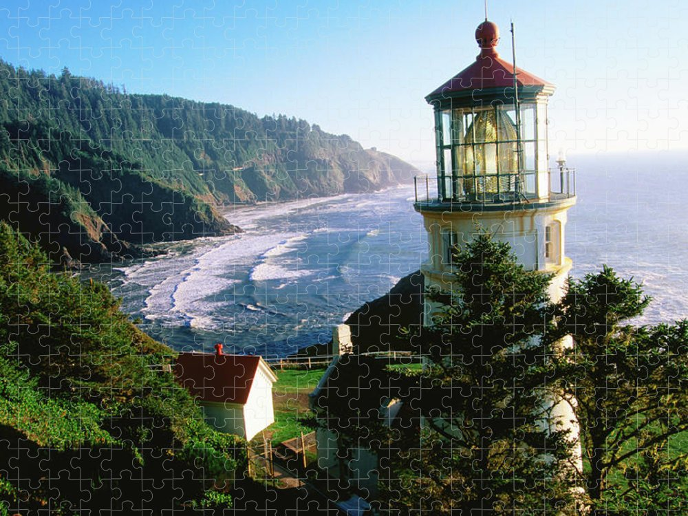 Shadow Puzzle featuring the photograph Heceta Head Lighthouse by John Elk