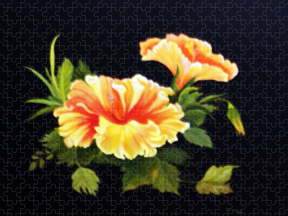 Flower Puzzle featuring the painting Hibiscuss by Peggy Holcroft