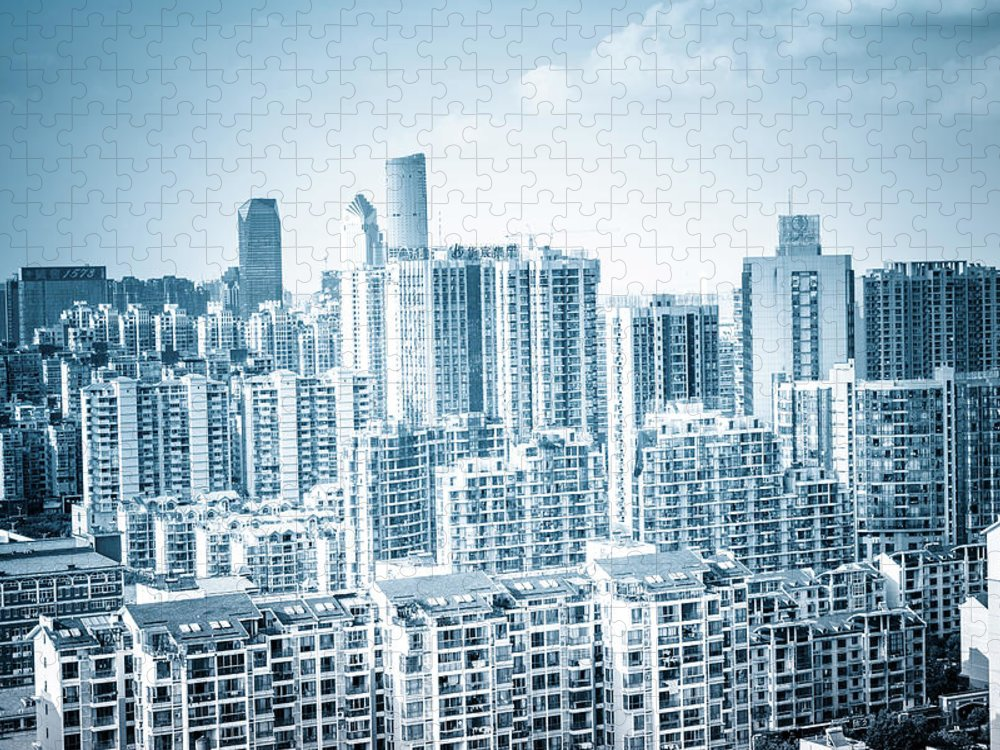 Residential District Puzzle featuring the photograph High Rise Residential Area by Aaaaimages
