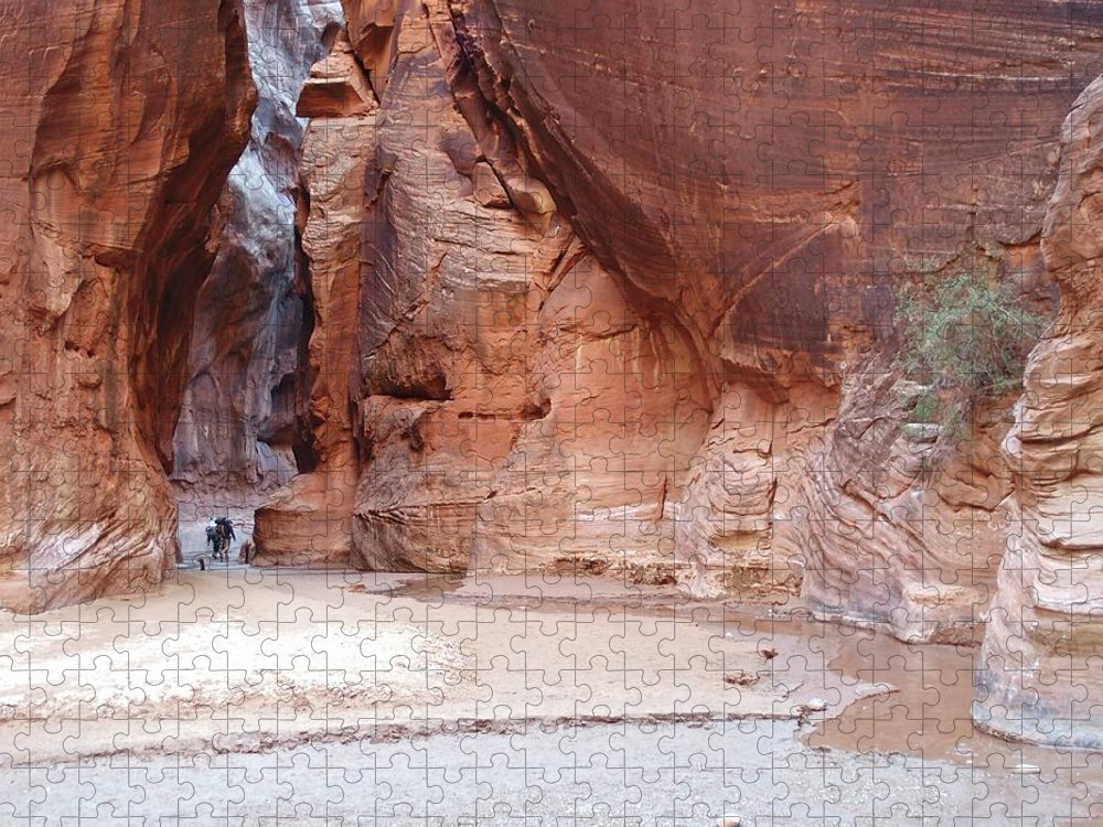 Tranquility Puzzle featuring the photograph Hikers Entering Buckskin Gulch From by Photograph By Michael Schwab