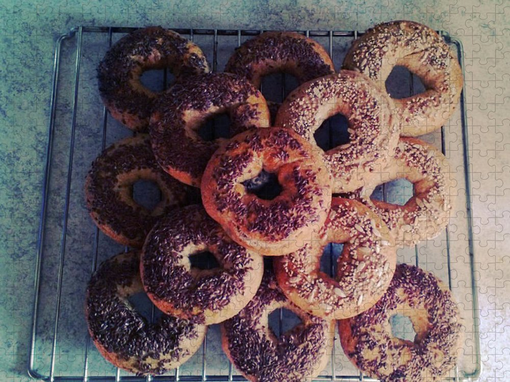 Flax Seed Puzzle featuring the photograph Homemade Bagels by Lasse Kristensen