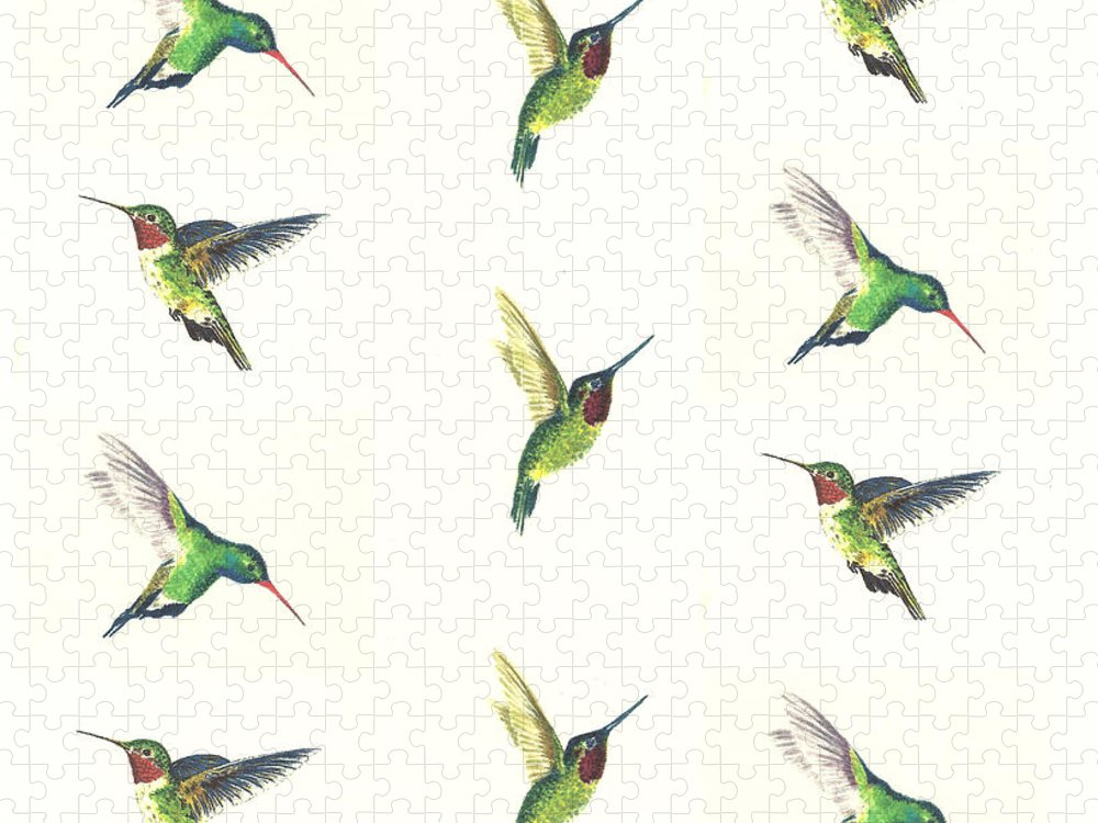 Animals Puzzle featuring the painting Hummingbirds Number 2 by Michael Vigliotti