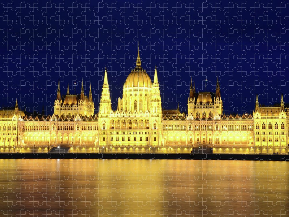 Hungarian Parliament Building Puzzle featuring the photograph Hungarian Parliament Building, Budapest by Dragos Cosmin Photos