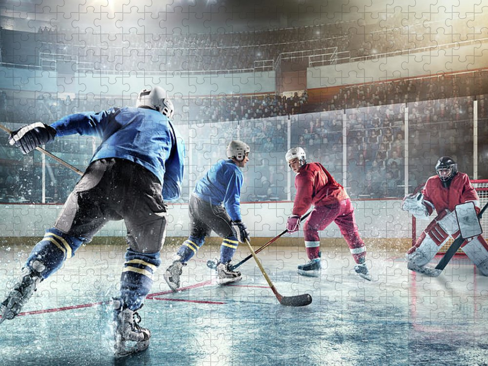 Sports Helmet Puzzle featuring the photograph Ice Hockey Players In Action by Dmytro Aksonov
