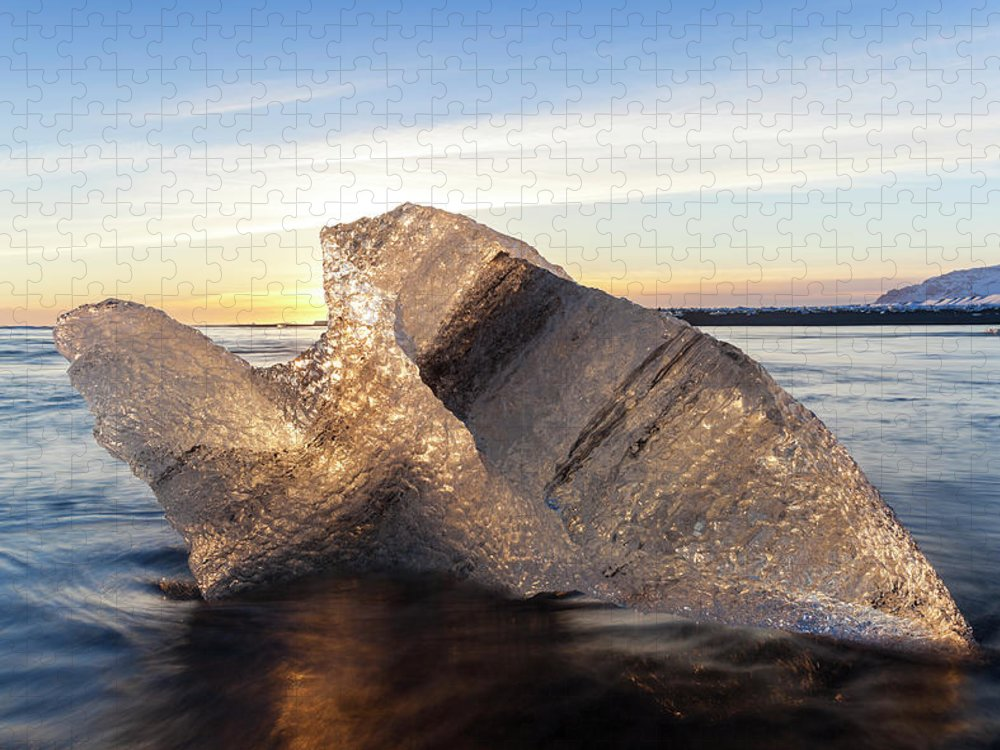 Scenics Puzzle featuring the photograph Iceberg In Sea By Jokulsarlon Glacier by Peter Adams