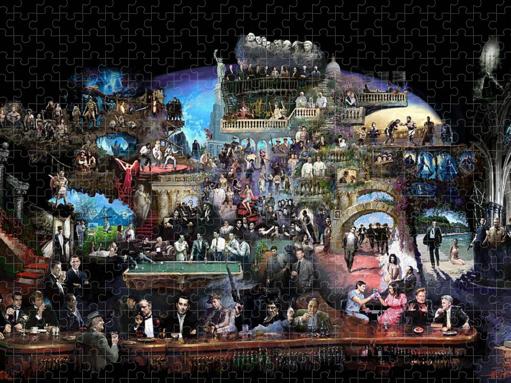 Icones Of History And Entertainment Puzzle featuring the mixed media Icons Of History And Entertainment by Ylli Haruni