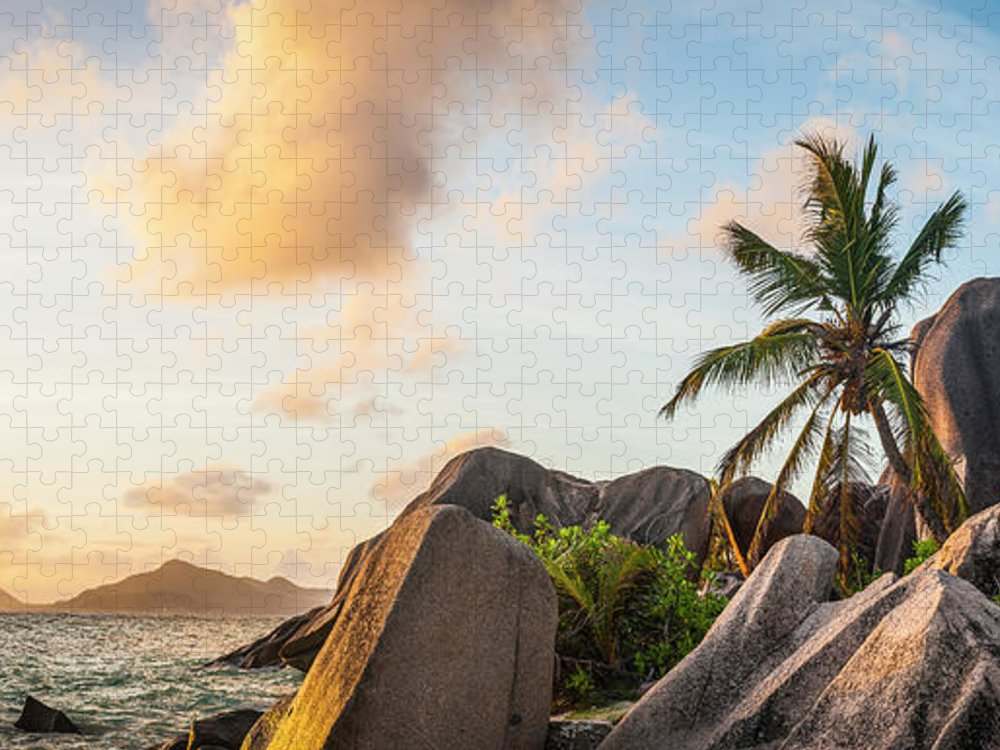 Tropical Rainforest Puzzle featuring the photograph Idyllic Tropical Island Sunset Over by Fotovoyager