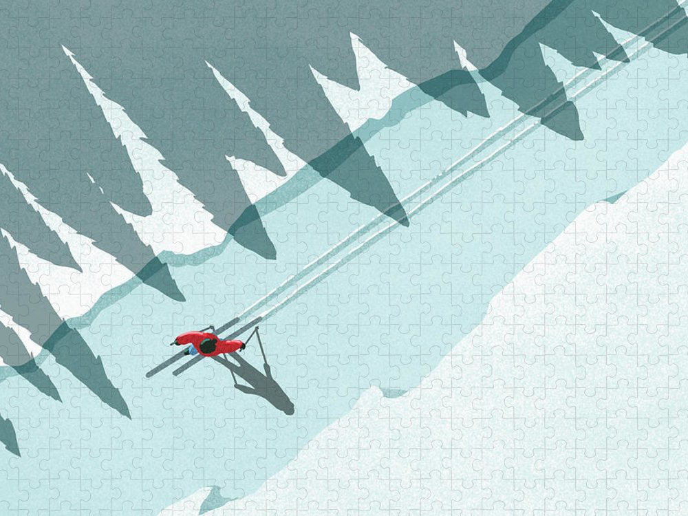 Ski Pole Puzzle featuring the digital art Illustration Of Man Skiing During by Malte Mueller