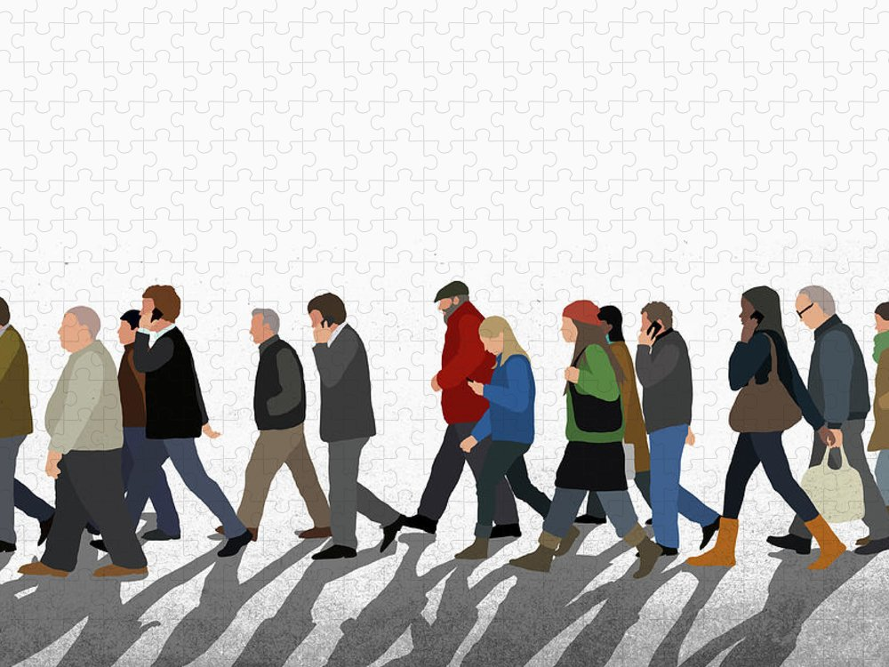 Shadow Puzzle featuring the digital art Illustration Of People Walking On by Malte Mueller