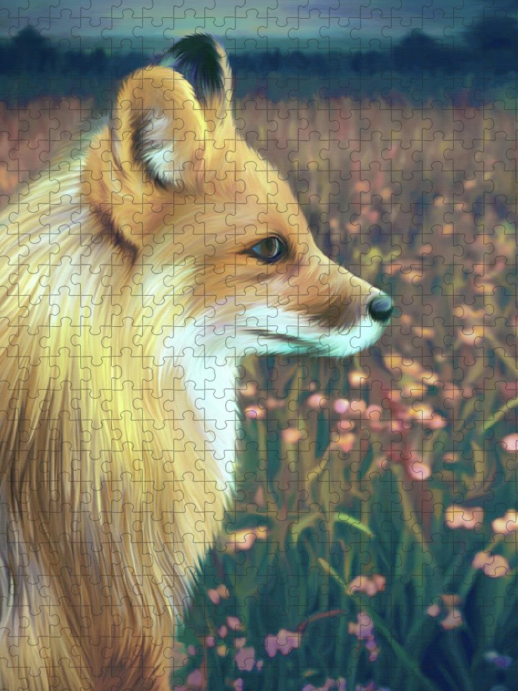 Grass Puzzle featuring the digital art Illustration Of Red Fox by Illustration By Shannon Posedenti