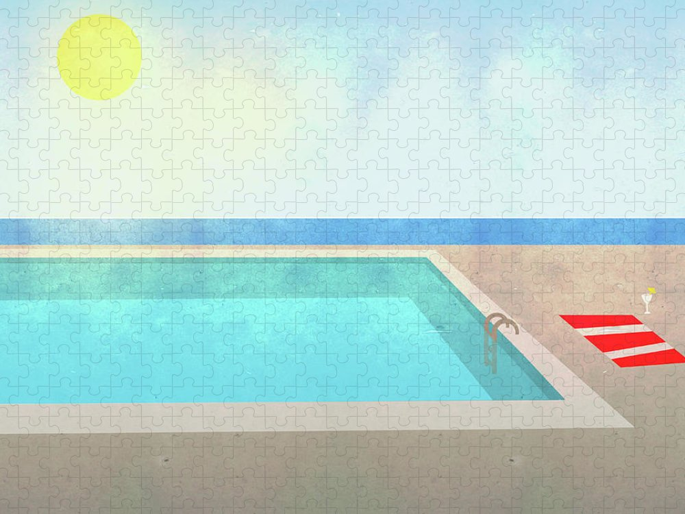 Swimming Pool Puzzle featuring the digital art Illustration Of Swimming Pool On Sunny by Malte Mueller