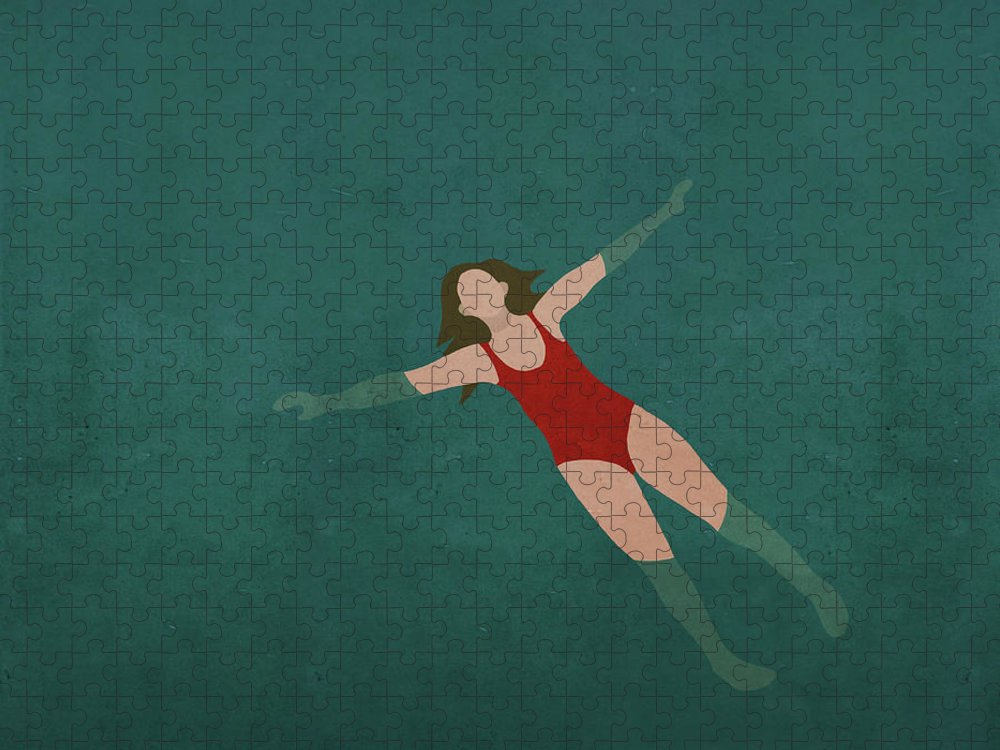 Tranquility Puzzle featuring the digital art Illustration Of Woman Swimming In Water by Malte Mueller