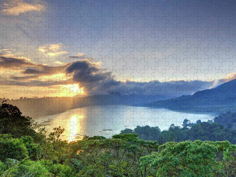 Scenics Puzzle featuring the photograph Indonesia, Bali, Mountain And Lakes by Michele Falzone