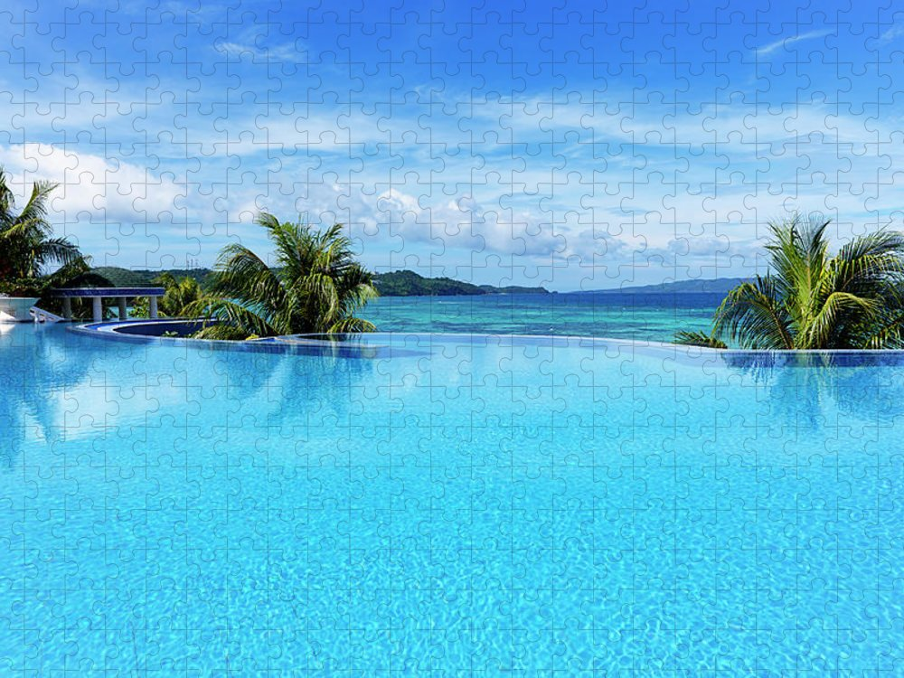 Scenics Puzzle featuring the photograph Infinity Swimming Pool by 35007