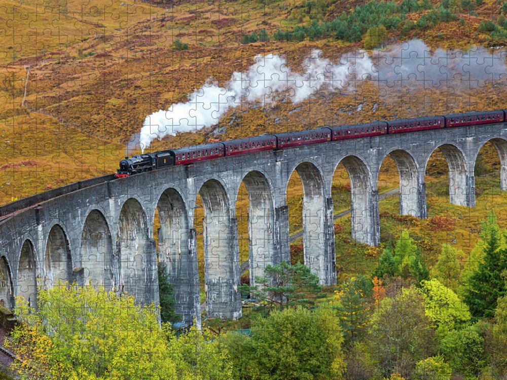 Arch Puzzle featuring the photograph Jacobite Train On Glenfinnan Viaduct by Peter Adams
