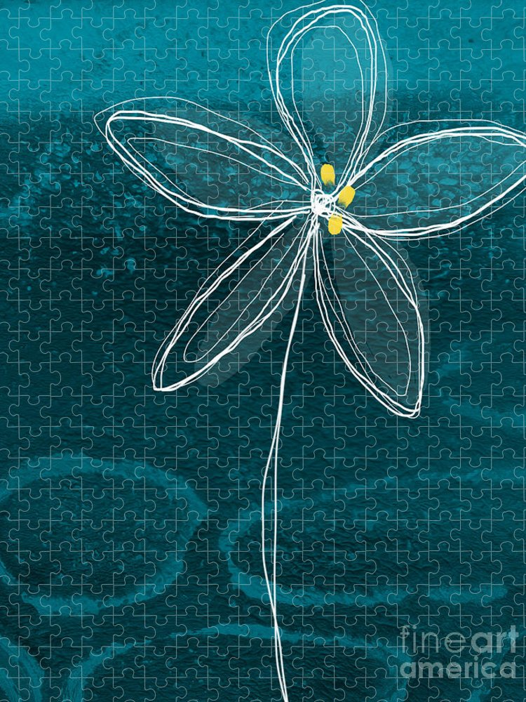 Abstract Puzzle featuring the painting Jasmine Flower by Linda Woods