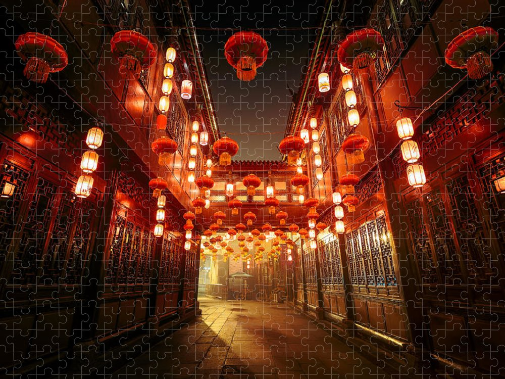 Chinese Culture Puzzle featuring the photograph Jinli Street, Chengdu, Sichuan, China by Kiszon Pascal