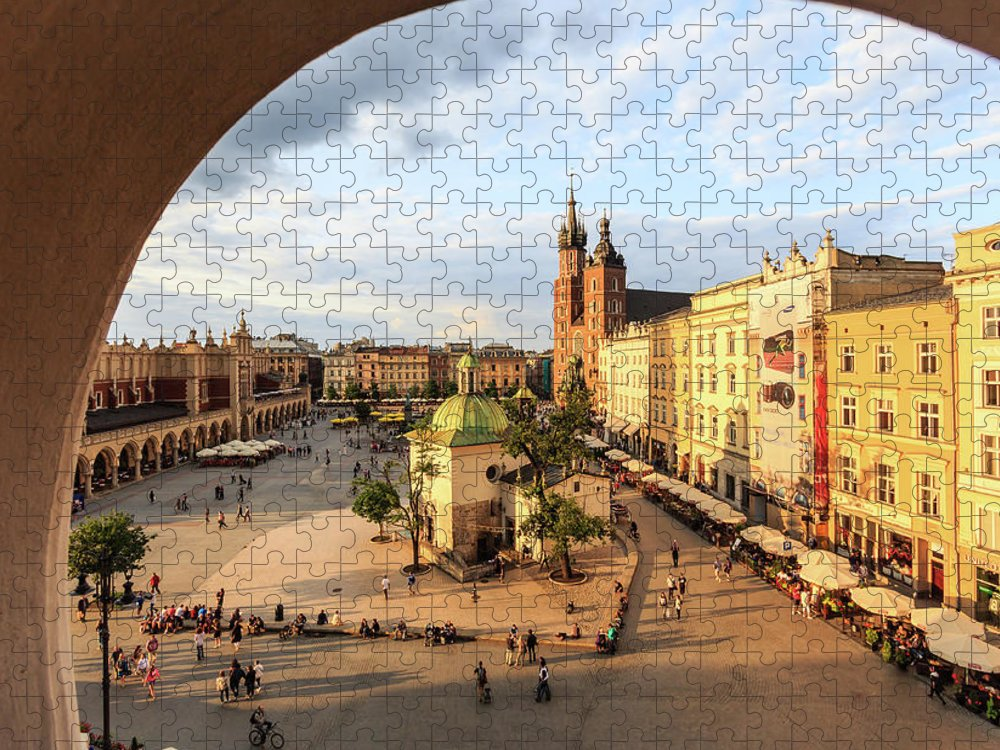 Gothic Style Puzzle featuring the photograph Krakow, Main Square With St. Marys by Maria Swärd