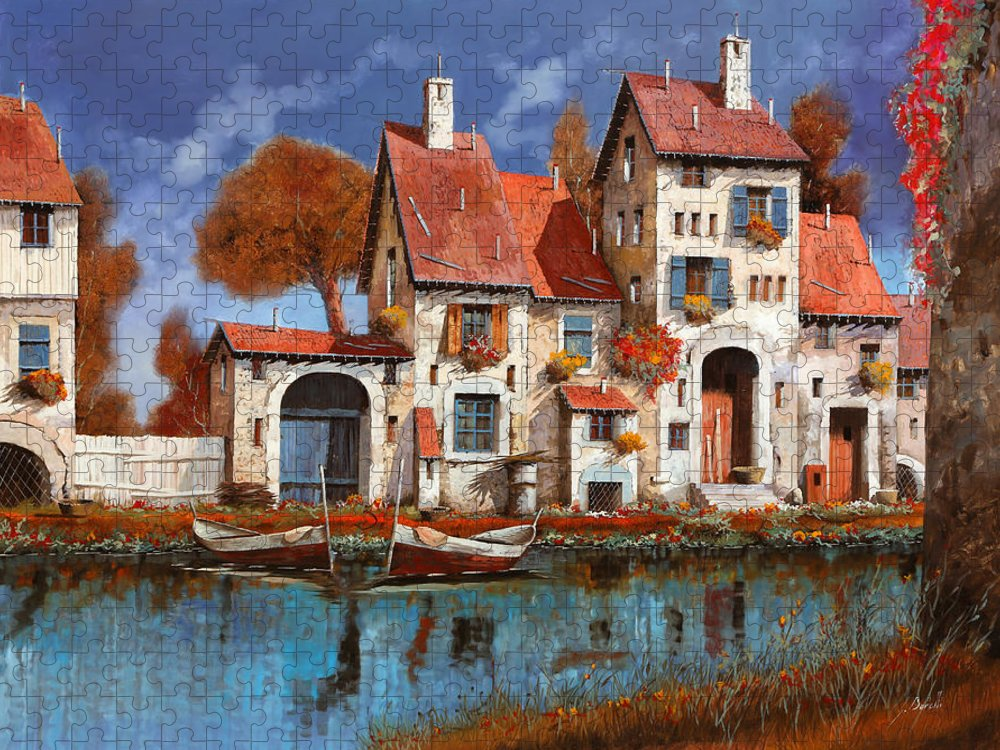 Little Village Puzzle featuring the painting La Cascina Sul Lago by Guido Borelli