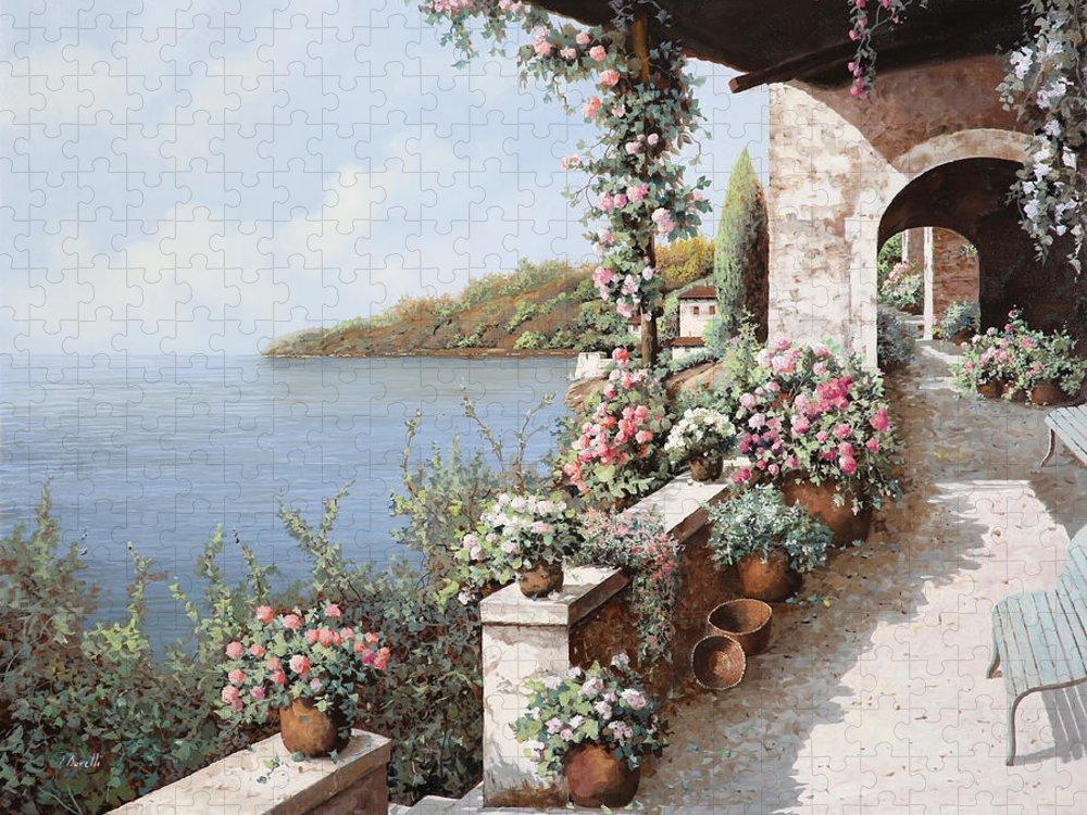 Coastal Puzzle featuring the painting La Terrazza by Guido Borelli