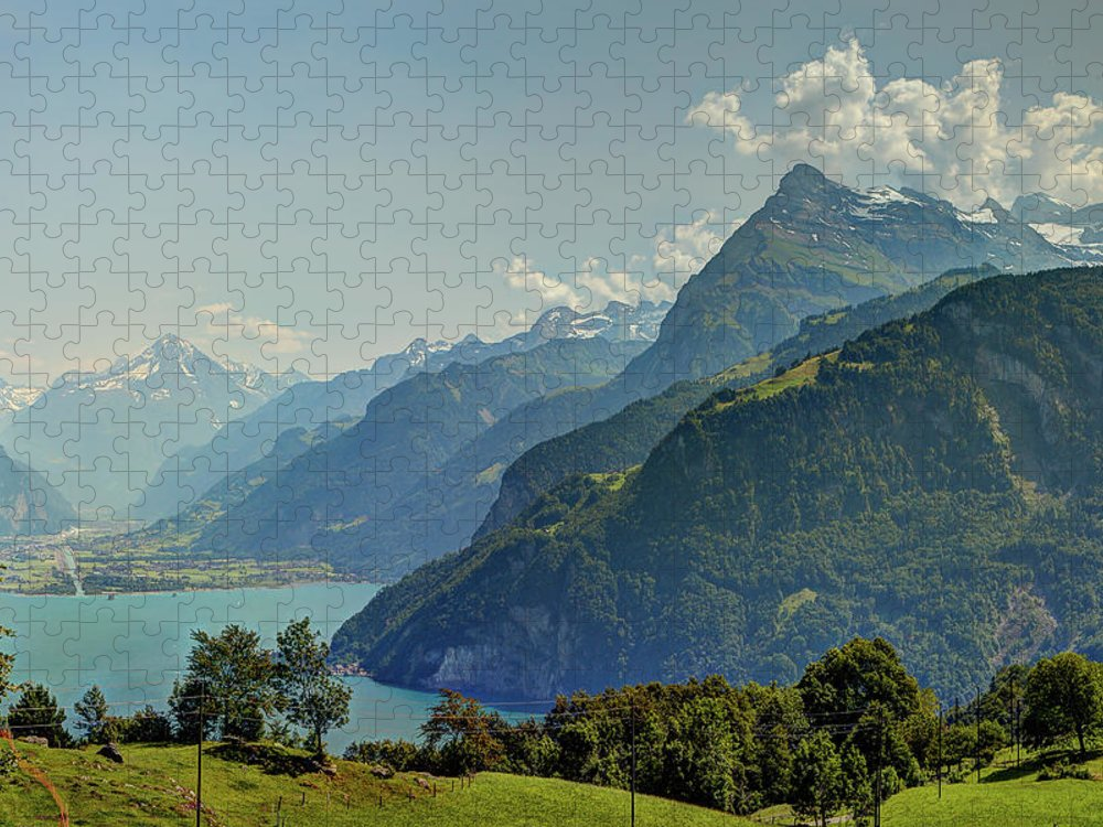 Tranquility Puzzle featuring the photograph Lake Lucerne And The Alps In Switzerland by Tatyana Diamantine