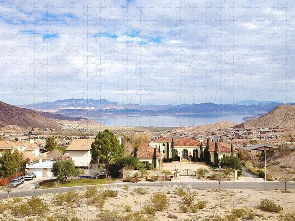 Tranquility Puzzle featuring the photograph Lake Mead As Seen From Boulder City by Abbie M. Redmon