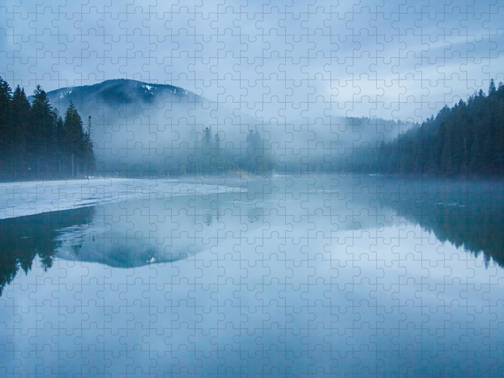 Scenics Puzzle featuring the photograph Lake Surrounded By Mountains And Forest by Verybigalex