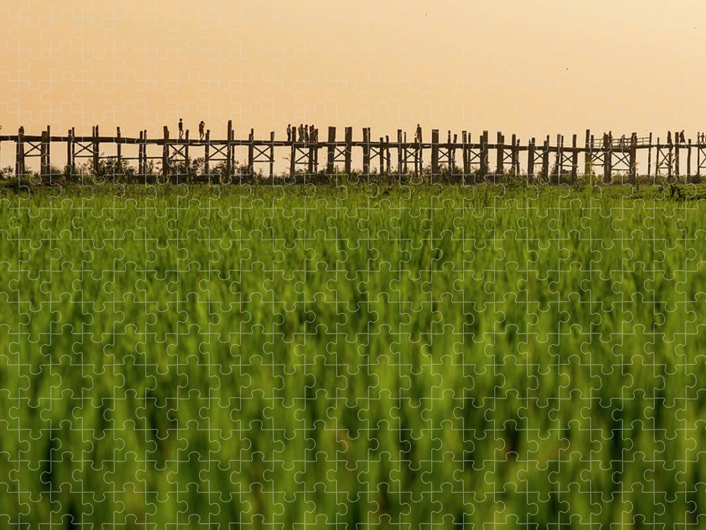 Built Structure Puzzle featuring the photograph Large Rice Paddy Below U Bein Bridge by Merten Snijders