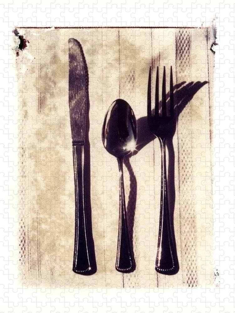 Forks Puzzle featuring the photograph Lets Eat by Jane Linders