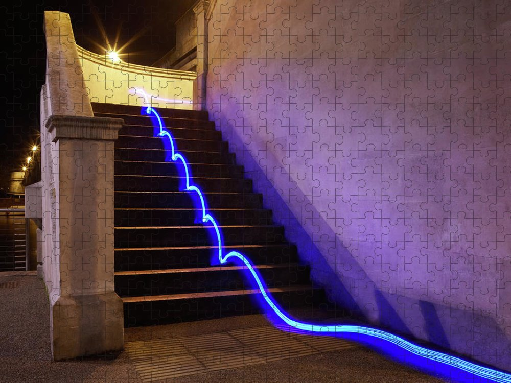 Steps Puzzle featuring the photograph Light Trail On Steps by Tim Robberts