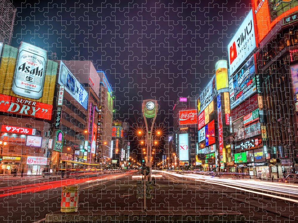Hokkaido Puzzle featuring the photograph Light Trails In Susukino by Daniel Chui
